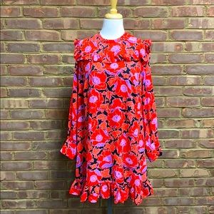 Who What Wear L/S Red Floral Dress Size XL